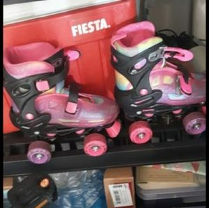 Roller skates with inline skate attachment
